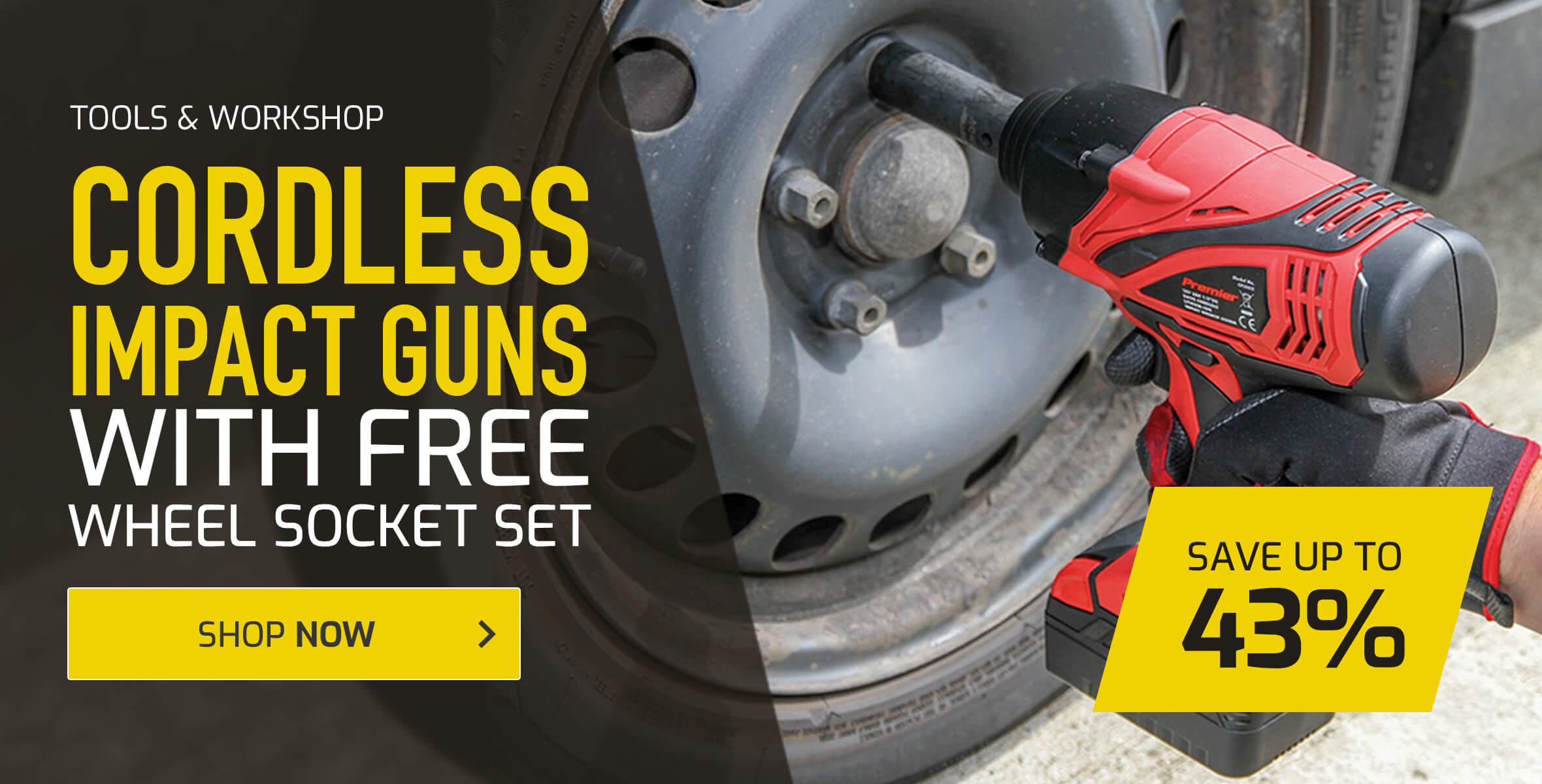 Save up to 43% on Cordless Impact Guns with Free Wheel Socket Set
