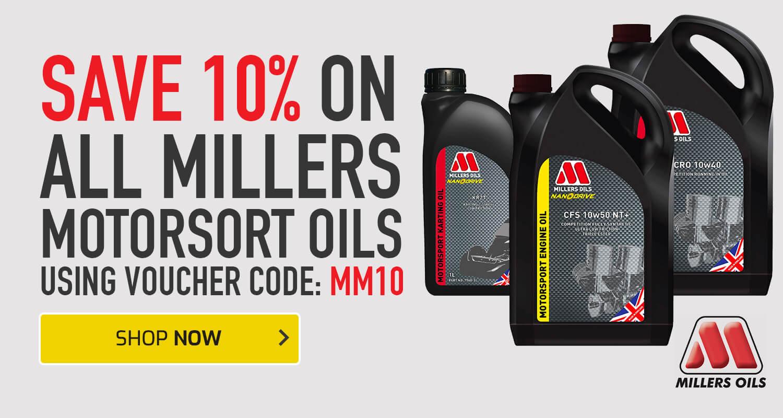 Save 10% on all Millers Motorsport Oils
