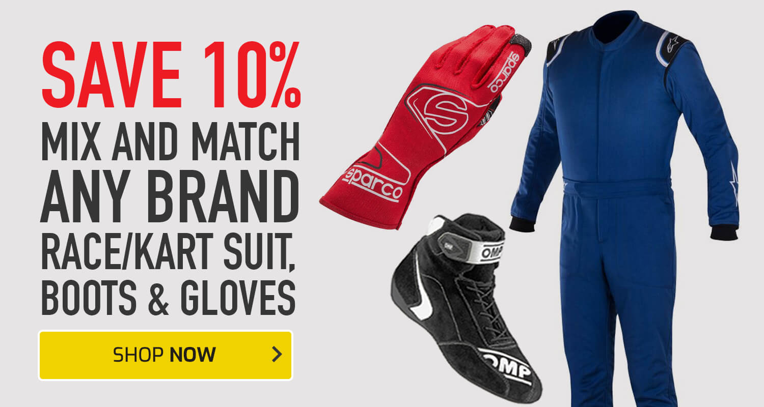 Save 10% on any Race/Kart Suit, Boots and Gloves Combo