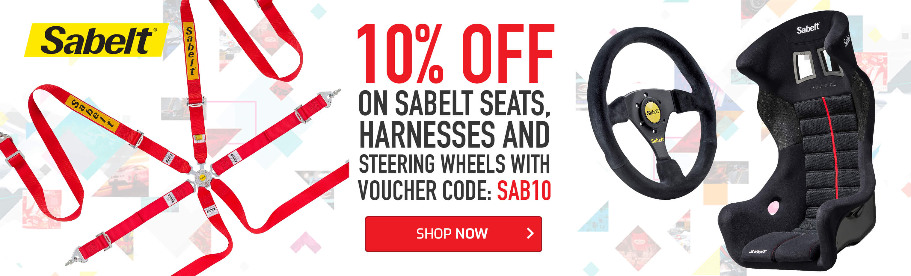 Save 10% on Sabelt seats, harnesses and steering wheels