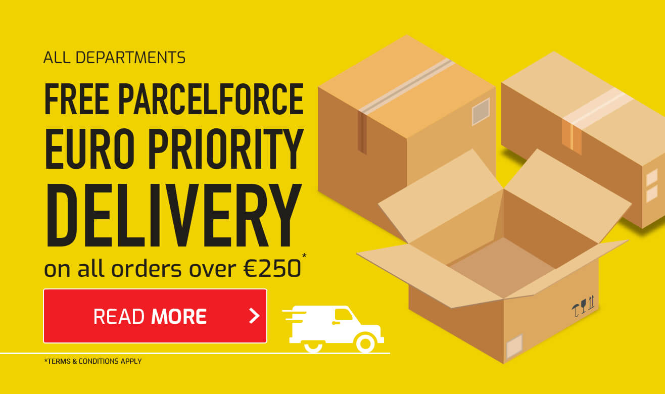 Free Parcelforce Euro Priority Delivery on Orders Over €250