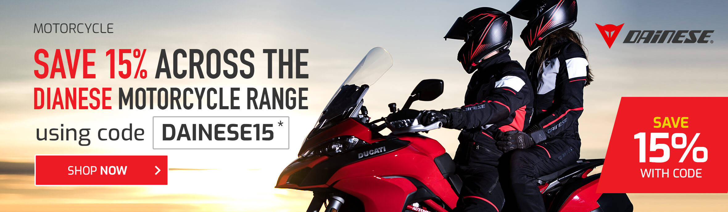 Save 15% on the Dainese Motorcycle Range - DAINESE15