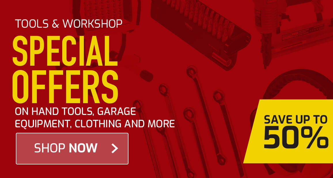 Special offers on hand tools, garage equipment, clothing and more