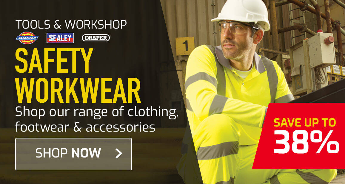 Dickies, Sealey, Draper - protective clothing, footwear and safety accessories