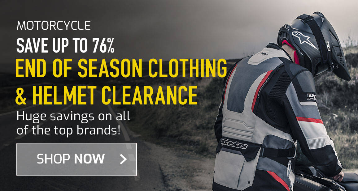 Save up To 76% on End Of Season Clothing & Helmet Clearance