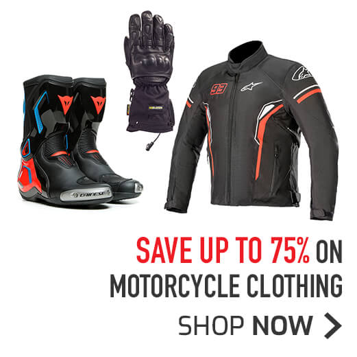 Save Up To 75% On Motorcycle Clothing