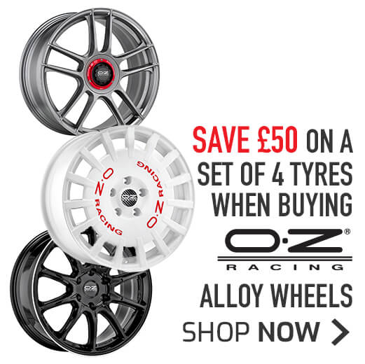 OZ Wheels - Save £50 on a set of 4 tyres when buying OZ wheels.