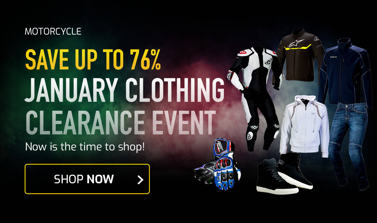 Save up to 76% on Motorcycle Clothing
