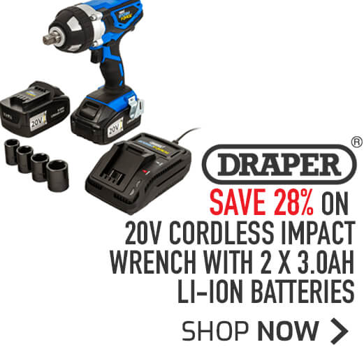 Draper 20V Cordless Impact Wrench With 2 x 3.0Ah Li-Ion Batteries - Save 24%