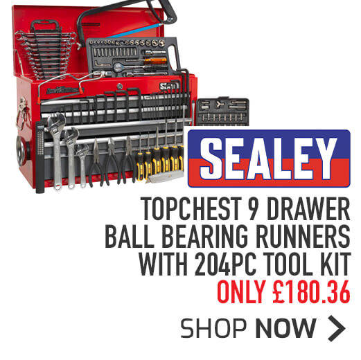 Sealey Topchest 9 Drawer Ball Bearing Runners With 204pc Tool Kit - Only £180.36