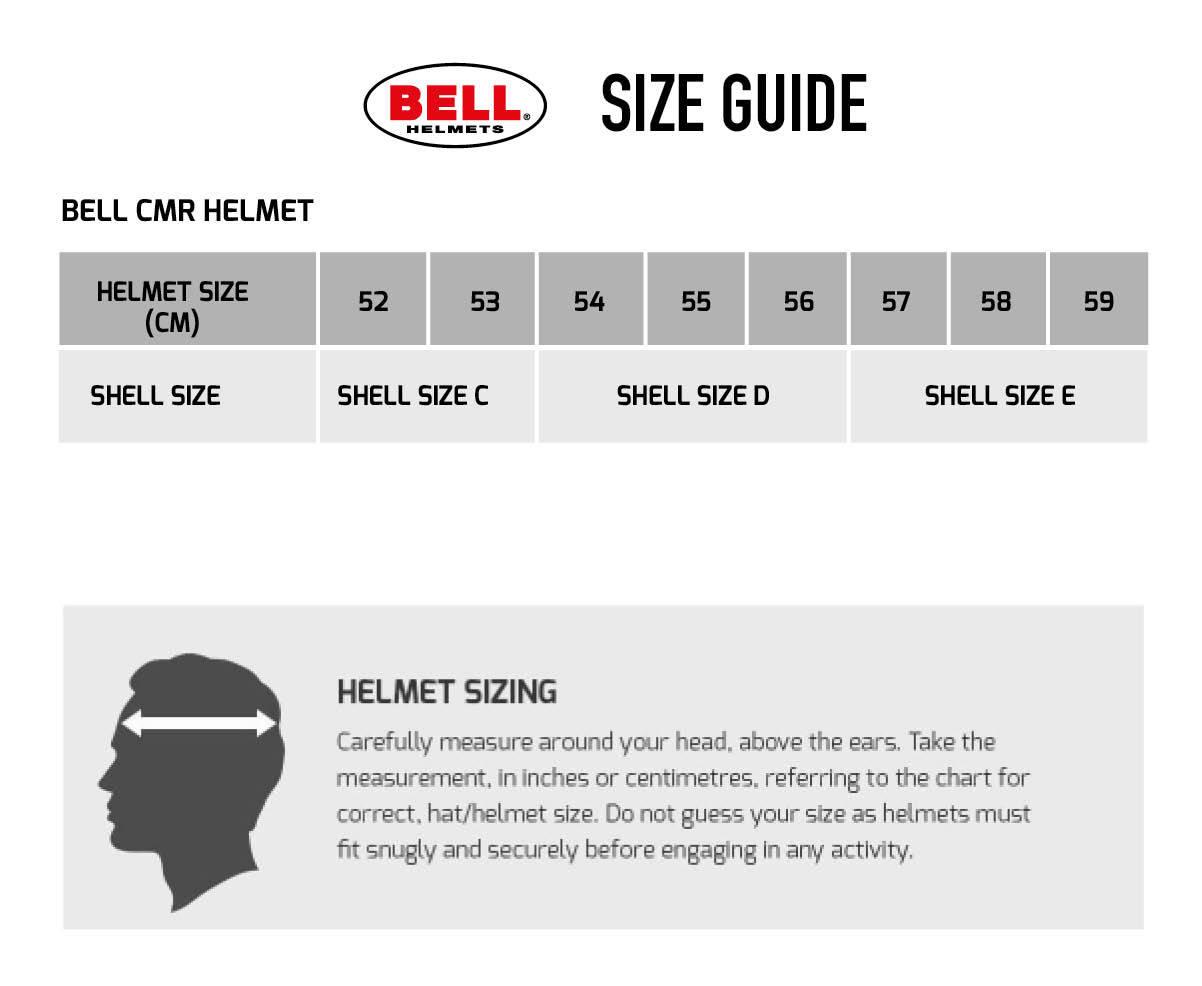 Bell KC7-CMR Kart Helmet Size Chart