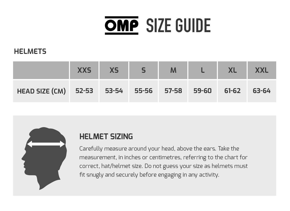 omp racing size guide