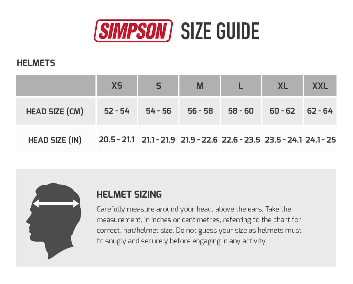 Bildresultat för size guide simpson helmets