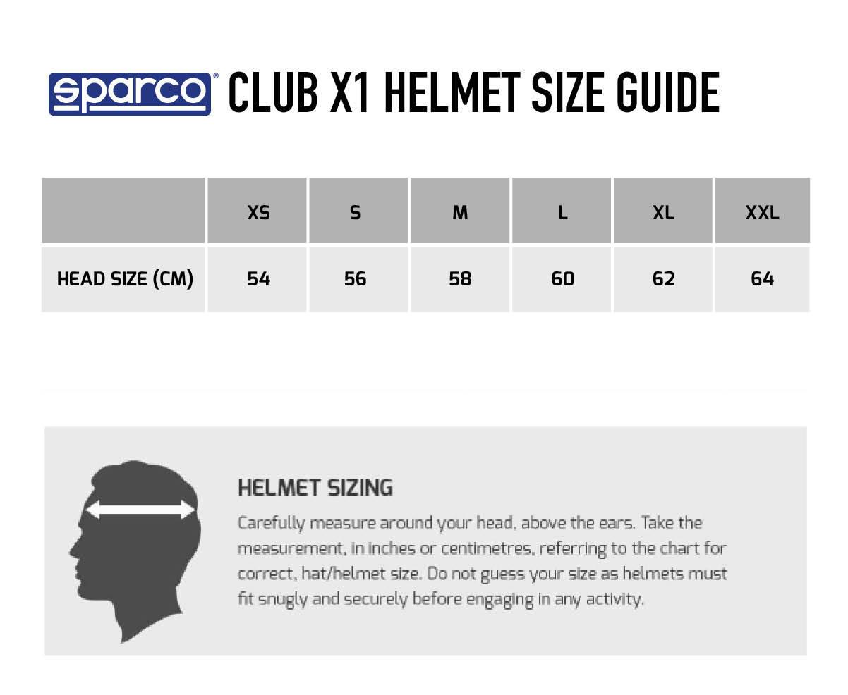 Sparco Club X1 Helmet - Matt Black Size Chart