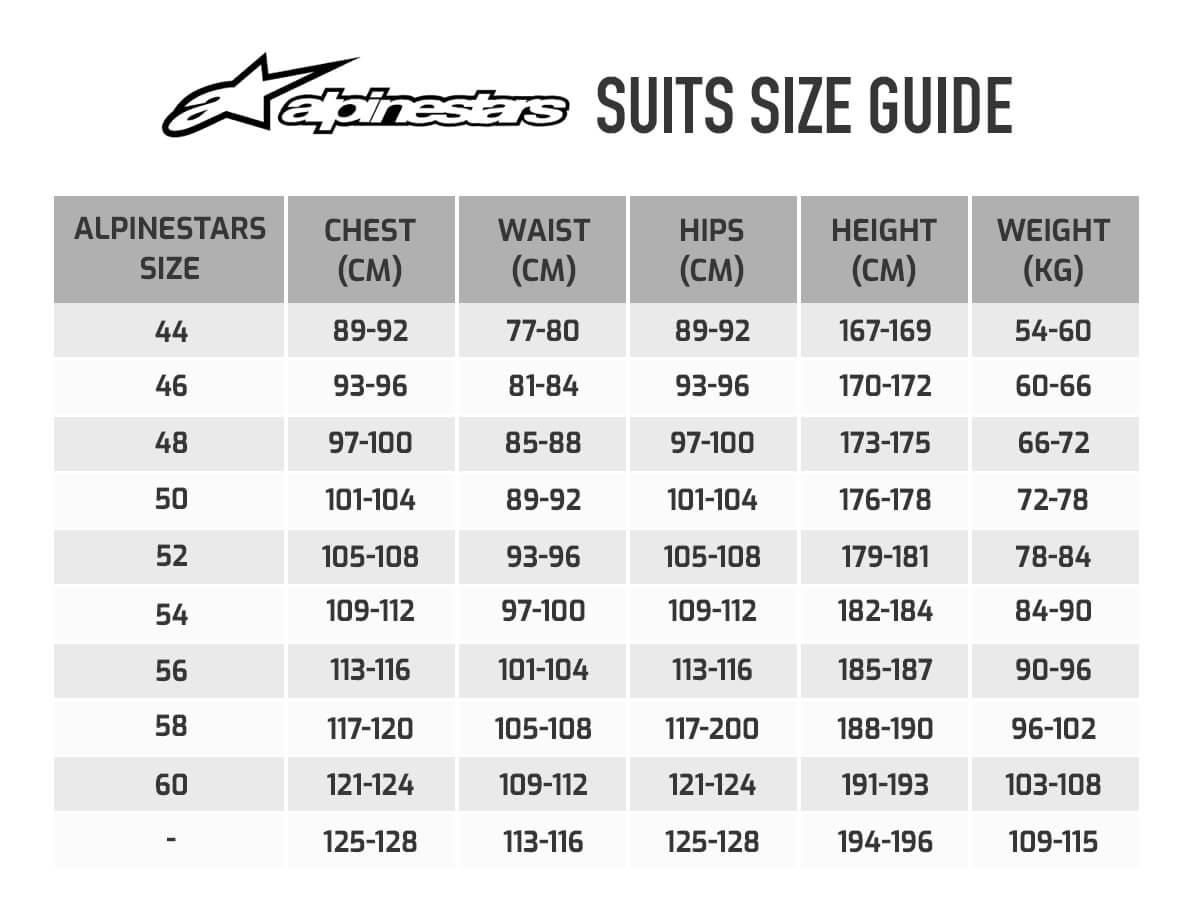 Alpinestars Hypertech V2 Race Suit Size Chart