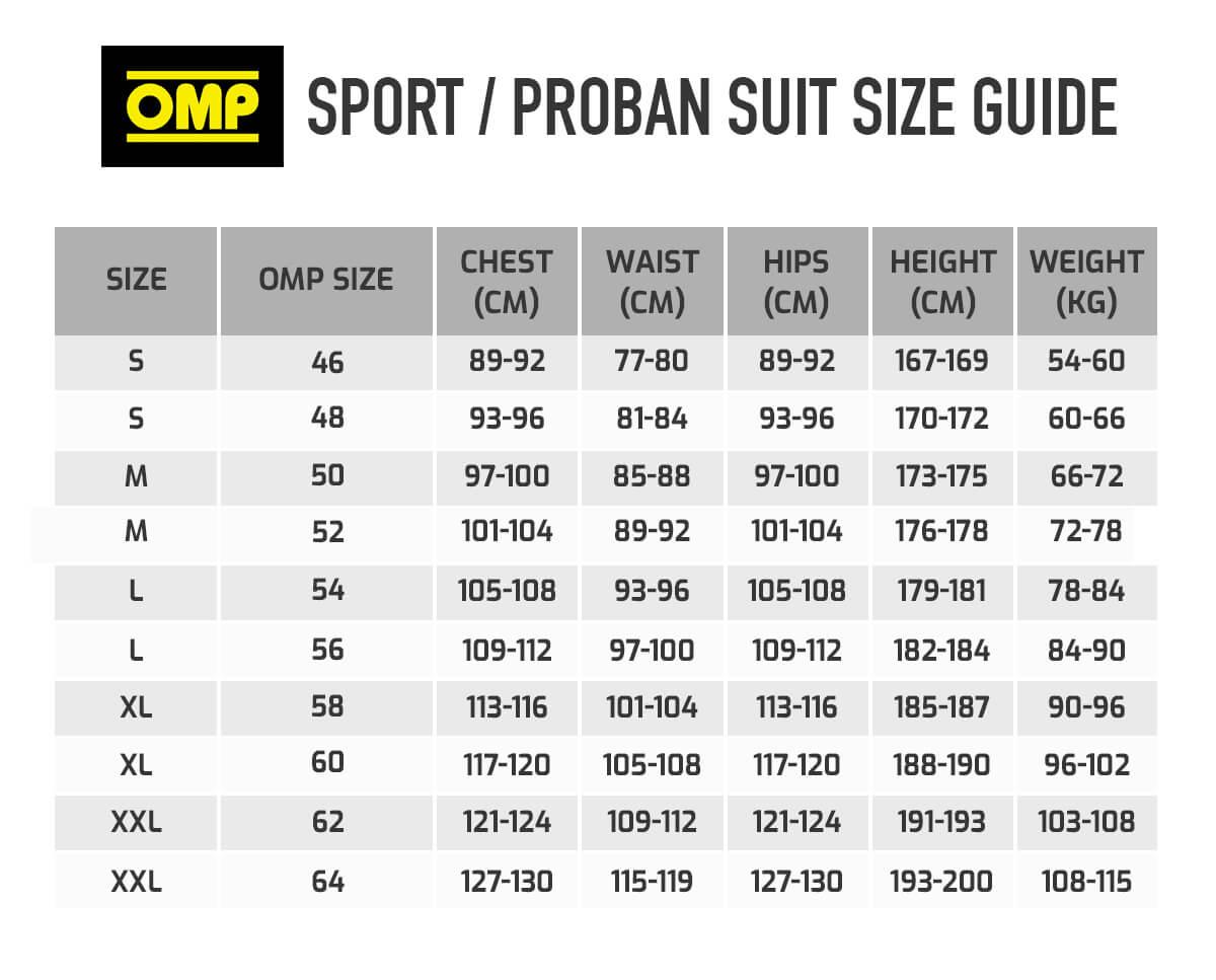OMP Sport Race Suit Size Chart